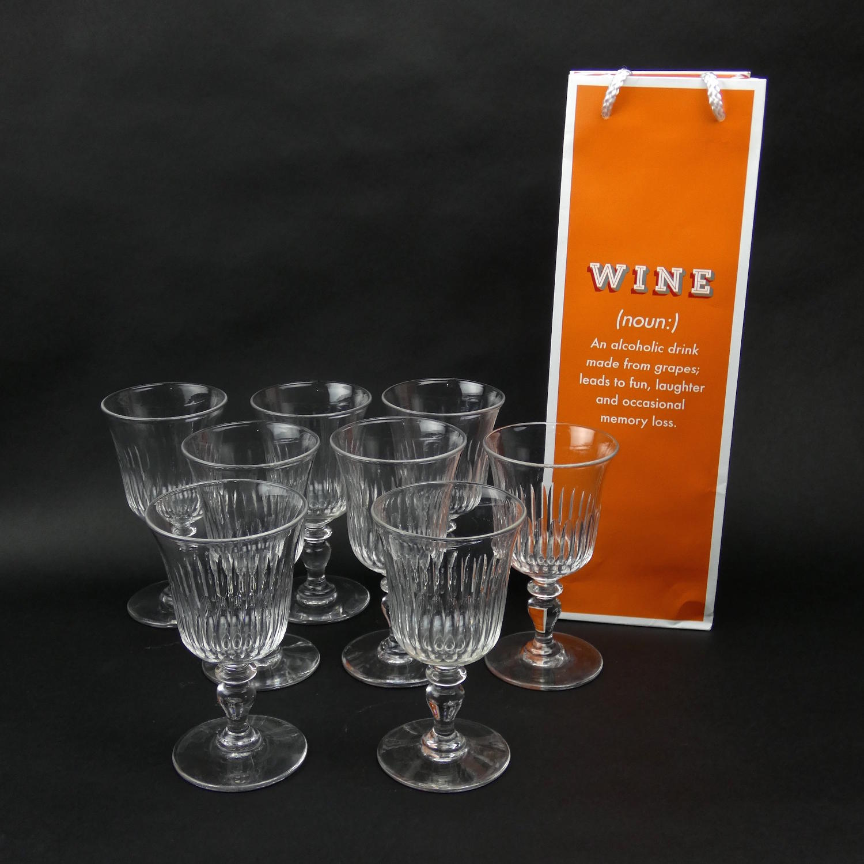 8 Large Crystal Wine Glasses