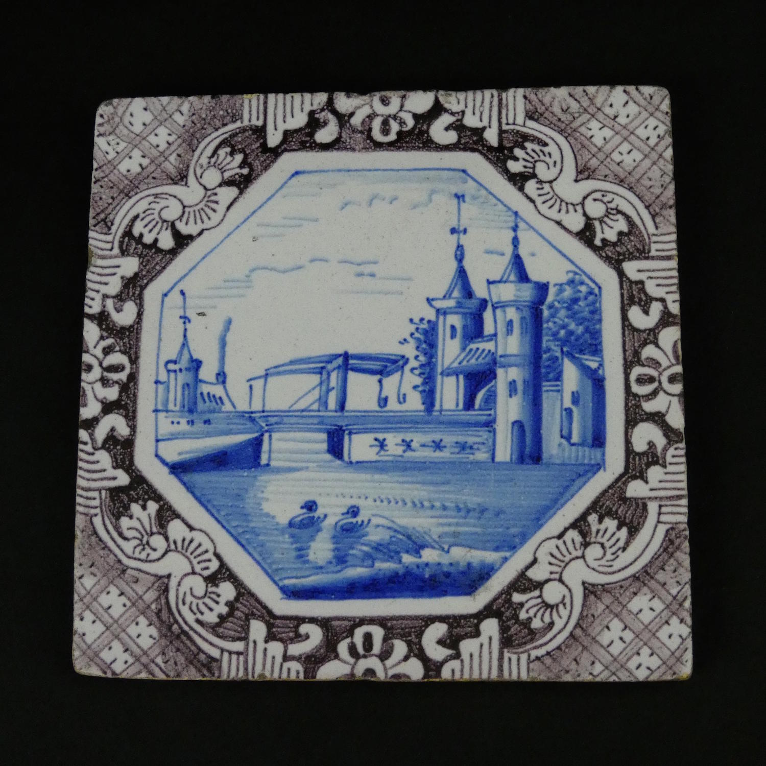 Manganese and Blue Delft Tile