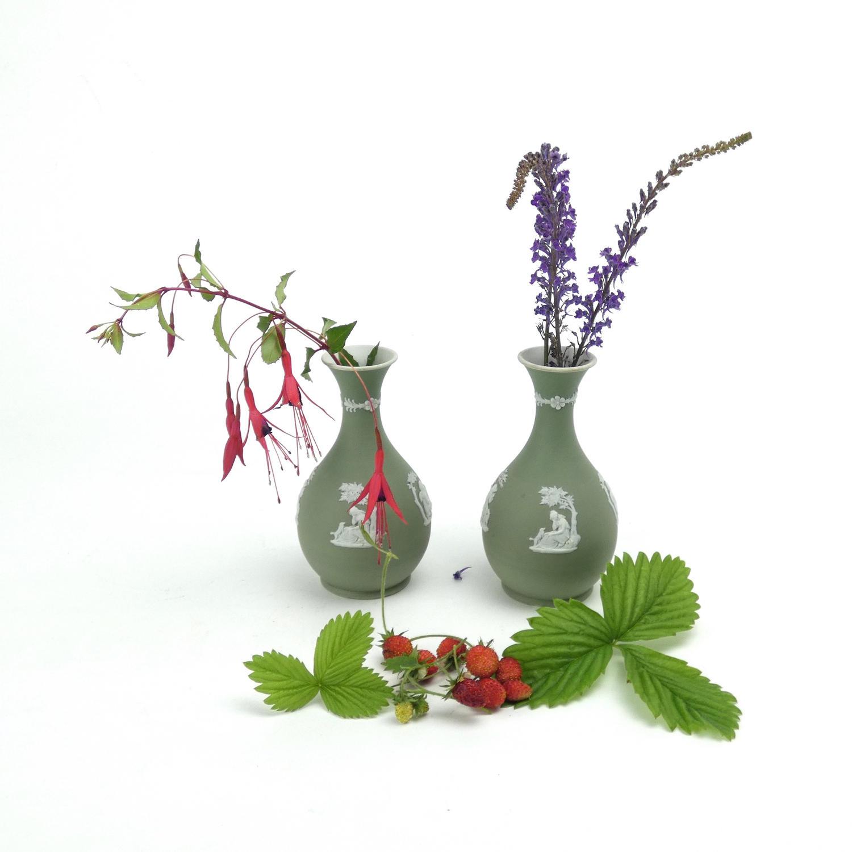 Pair of Green Jasper Vases