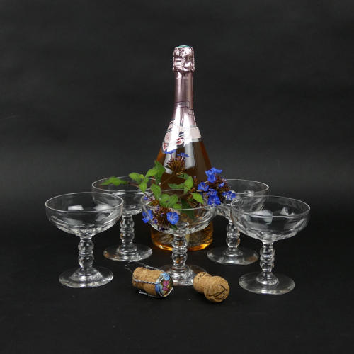 5 French Crystal Glass Champagne Coupes