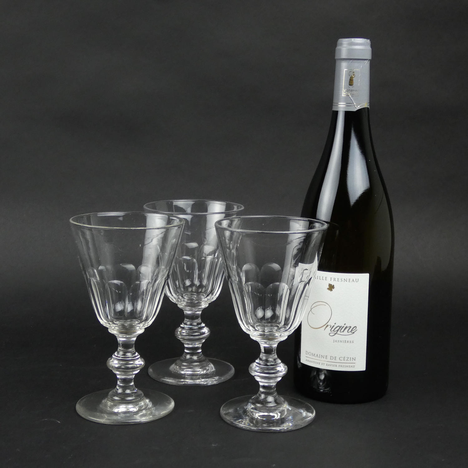 3 French Crystal Wine Glasses