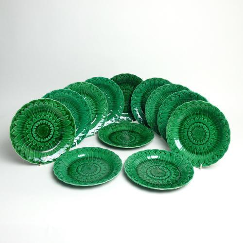 12 Majolica sunflower plates