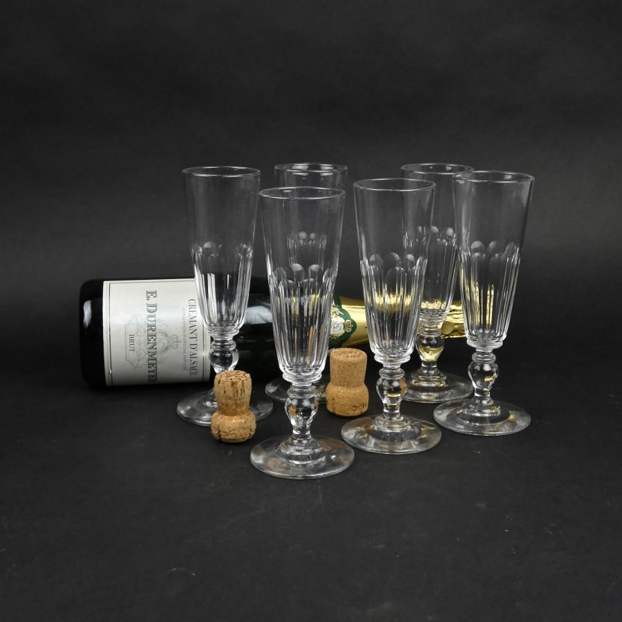 6 French crystal champagne flutes