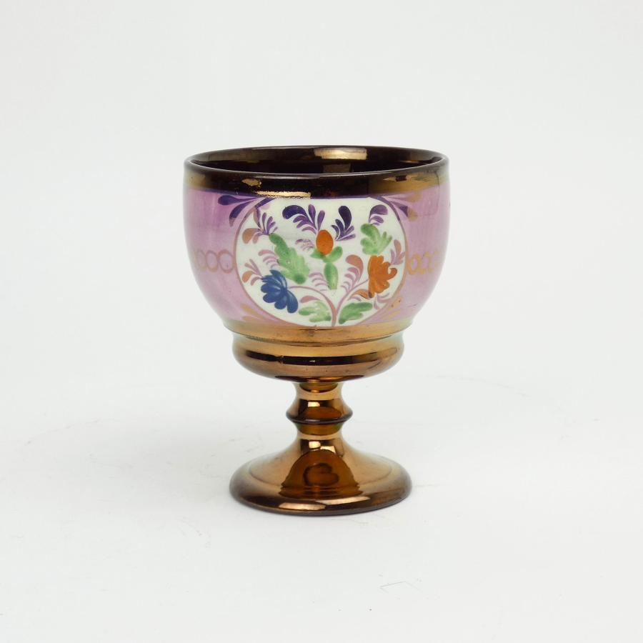 Lustre and enamel goblet