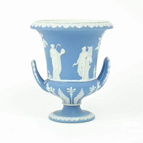 Pale blue campana vase.
