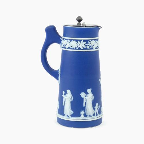 Jasper jug with pewter lid