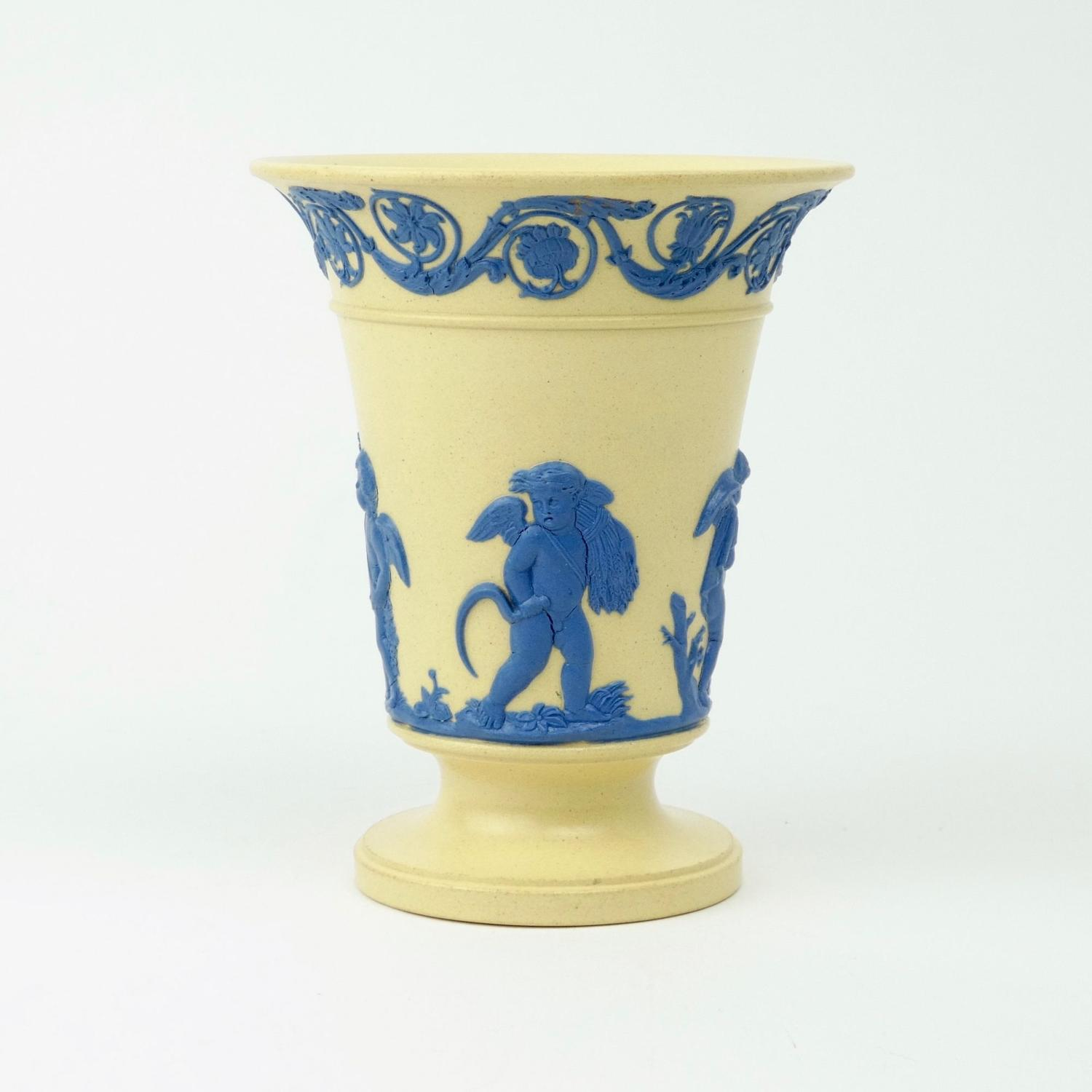 Caneware vase with blue relief