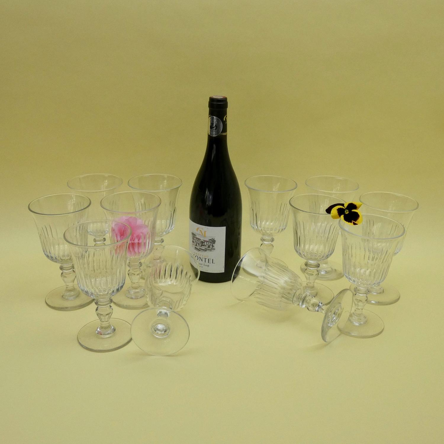 Large set of crystal wine glasses