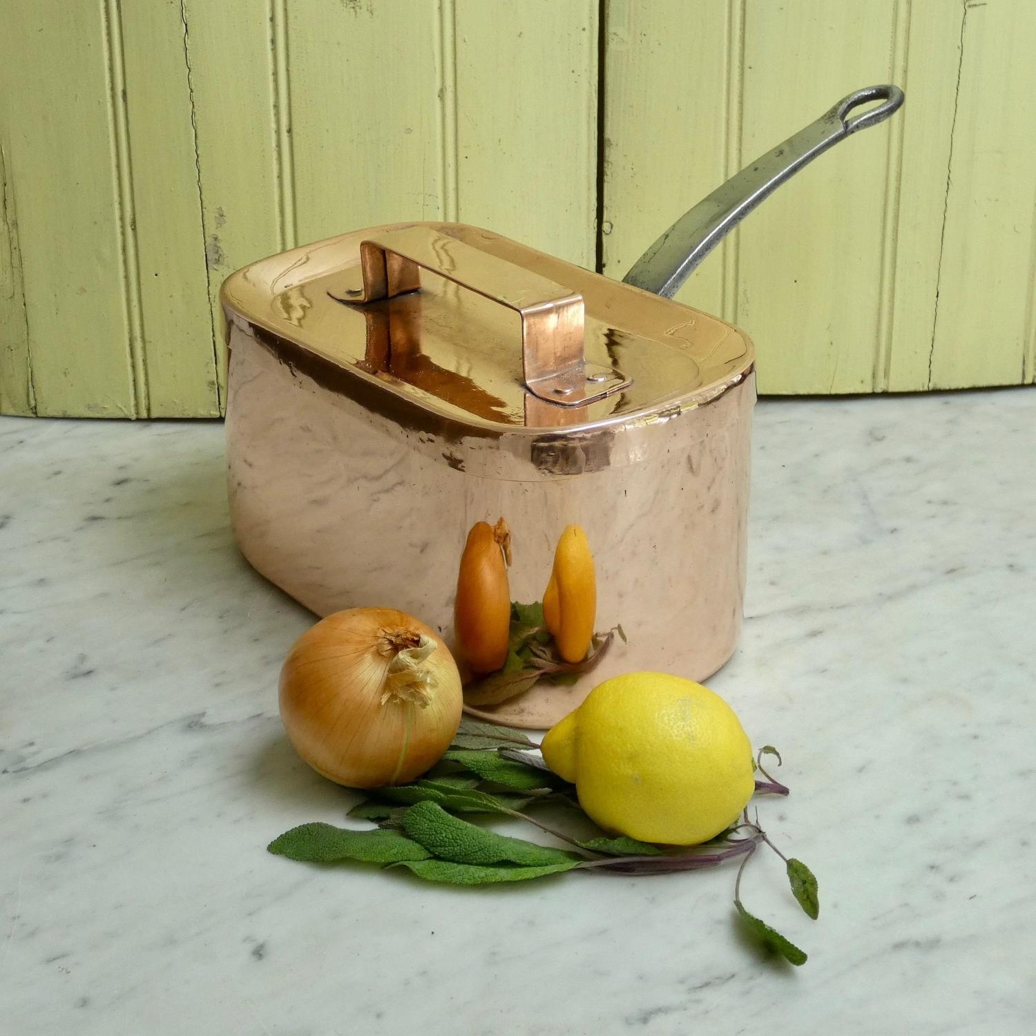 Rectangular copper saucepan