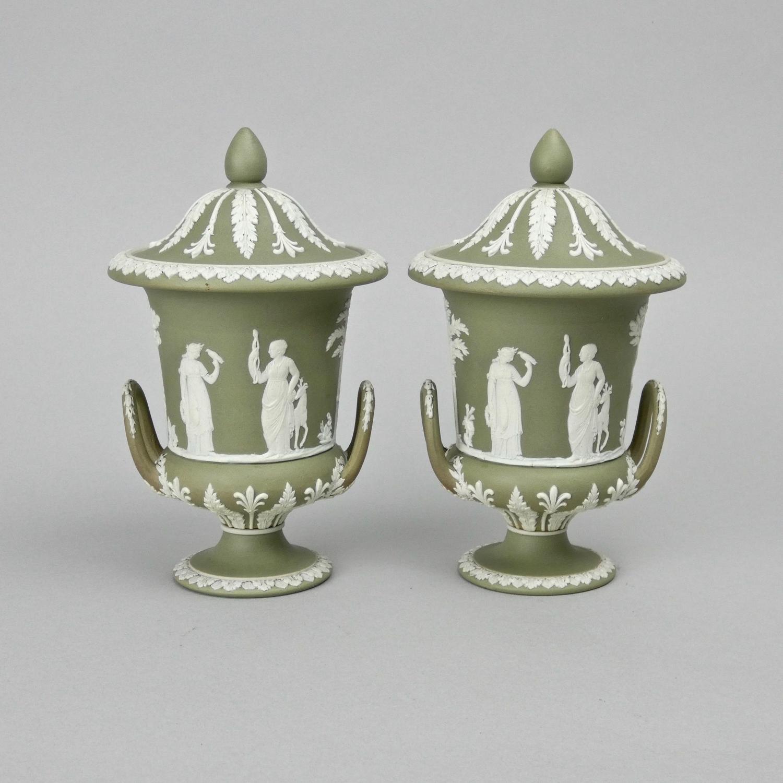 Green jasper campana vases