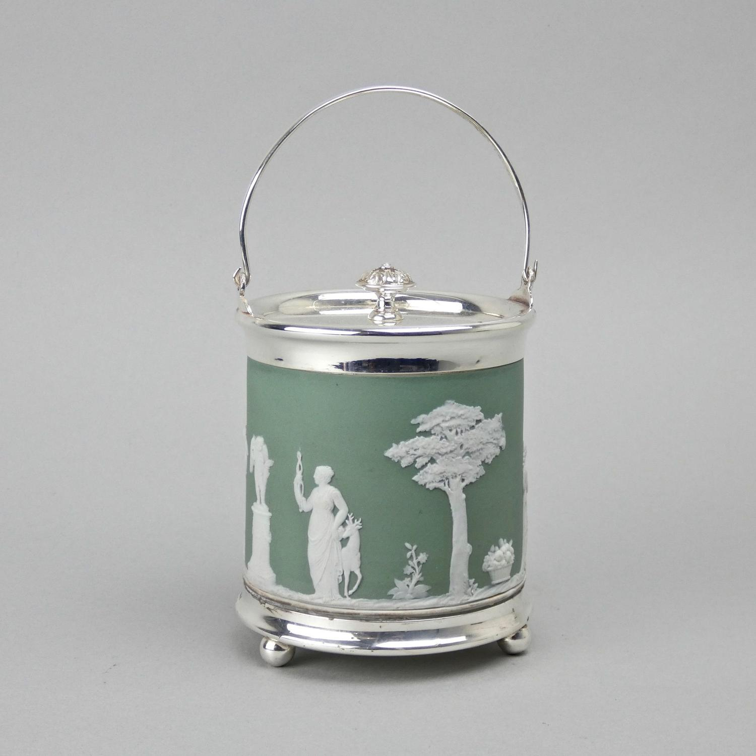Small, green jasper biscuit barrel