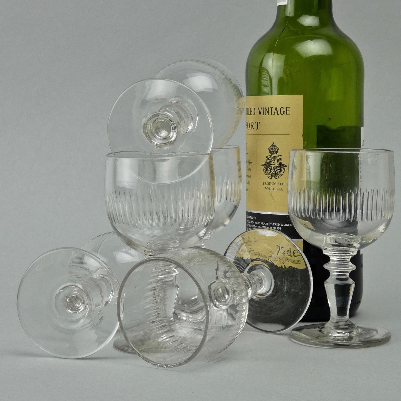 6 French port glasses