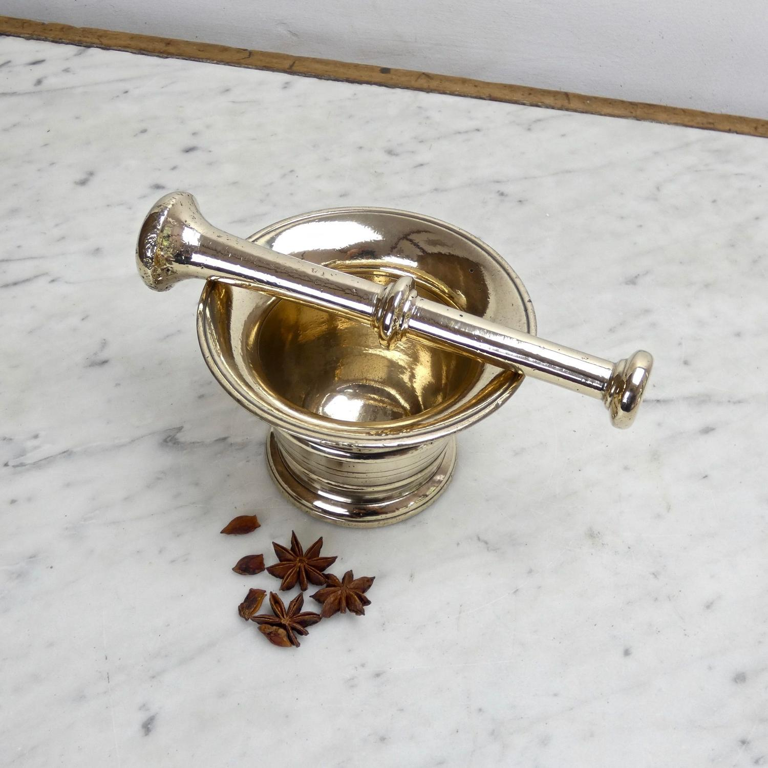 Early 19th c. brass mortar and pestle