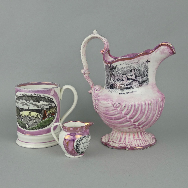 Large pink lustre jug