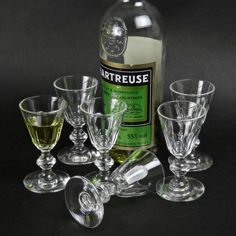 Set of 6 crystal liqueur glasses