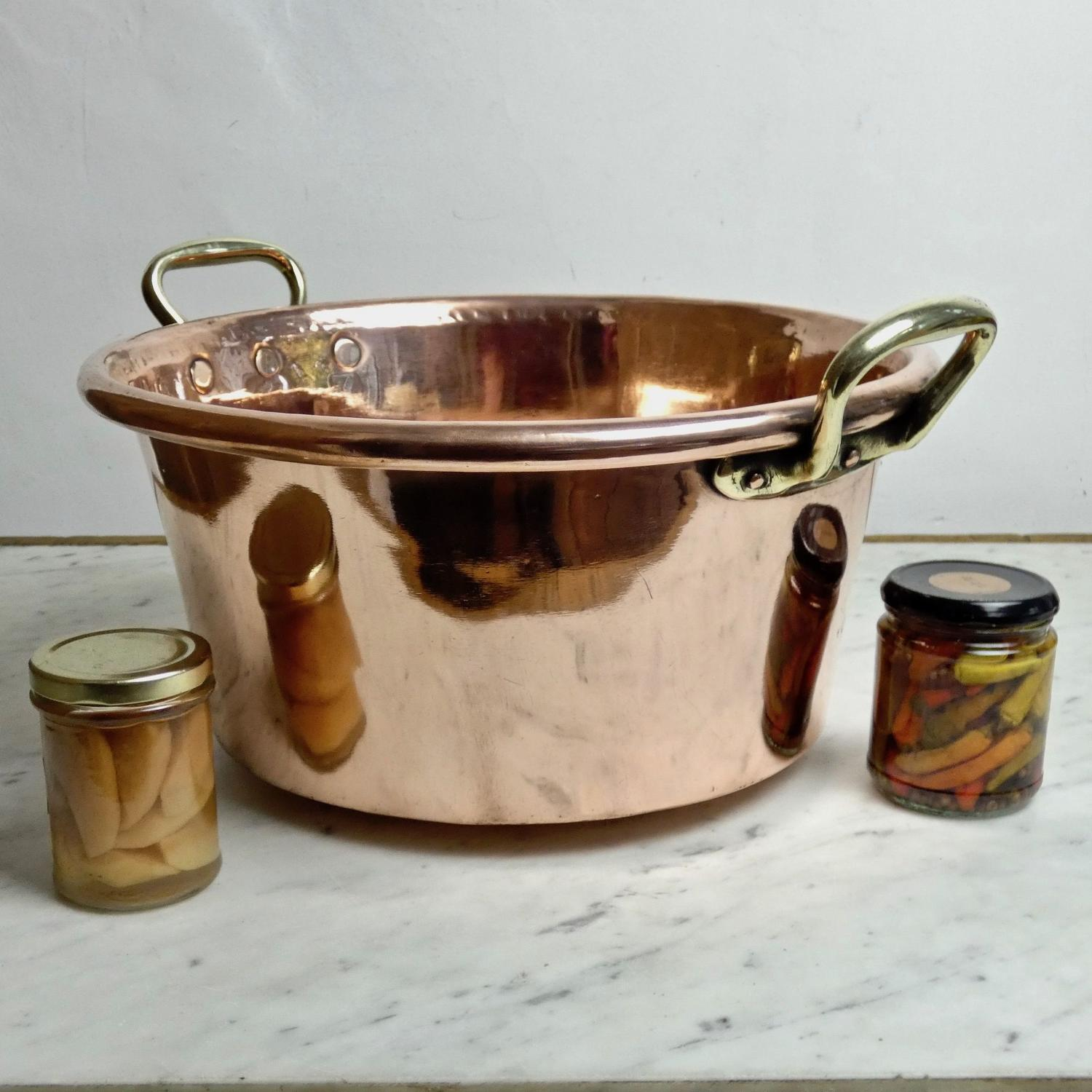 Deep, French copper preserve pan