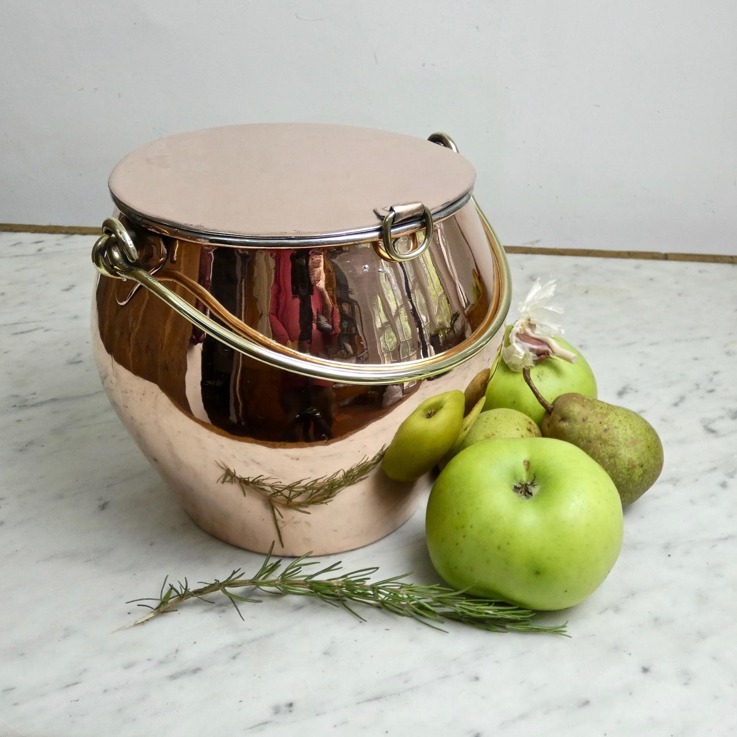 Unusual, French copper casserole