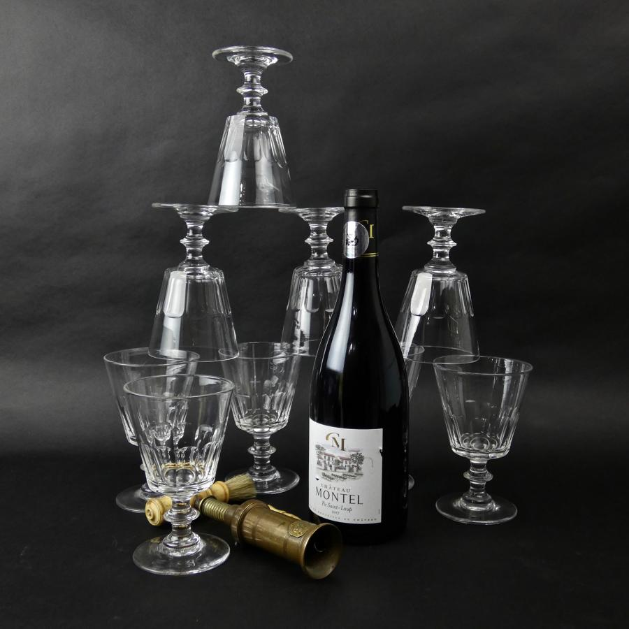 9 French crystal wine glasses