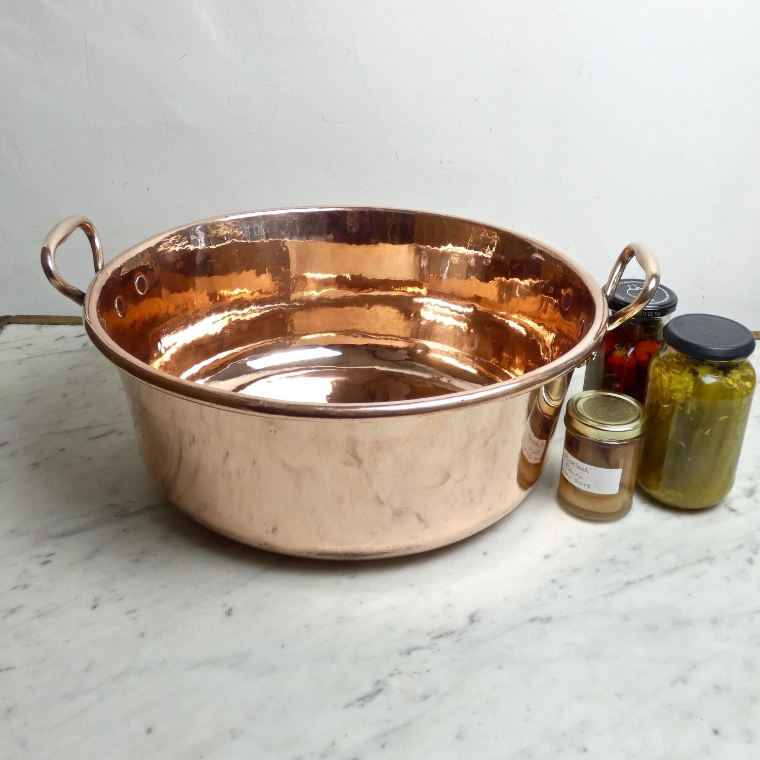 Large, French copper preserve pan