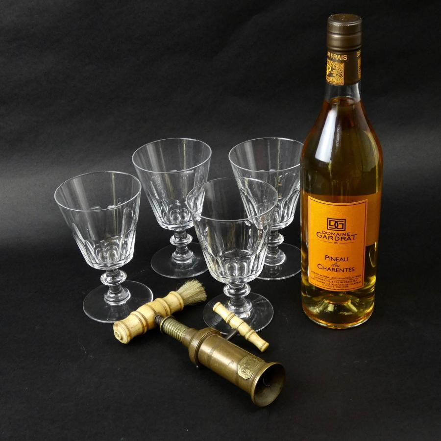 4 French crystal wine glasses
