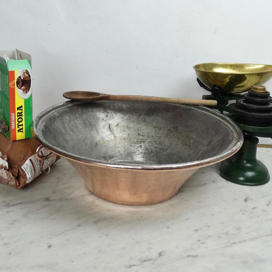French copper mixing bowl