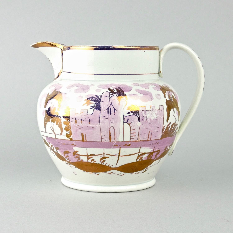 Pink lustre, house pattern jug