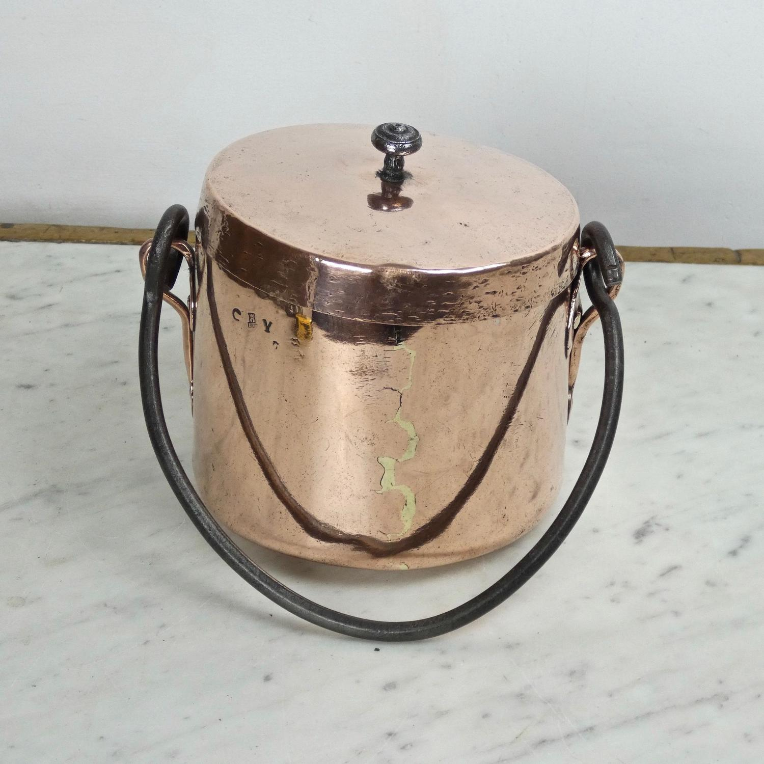 Small, French copper cooking pot