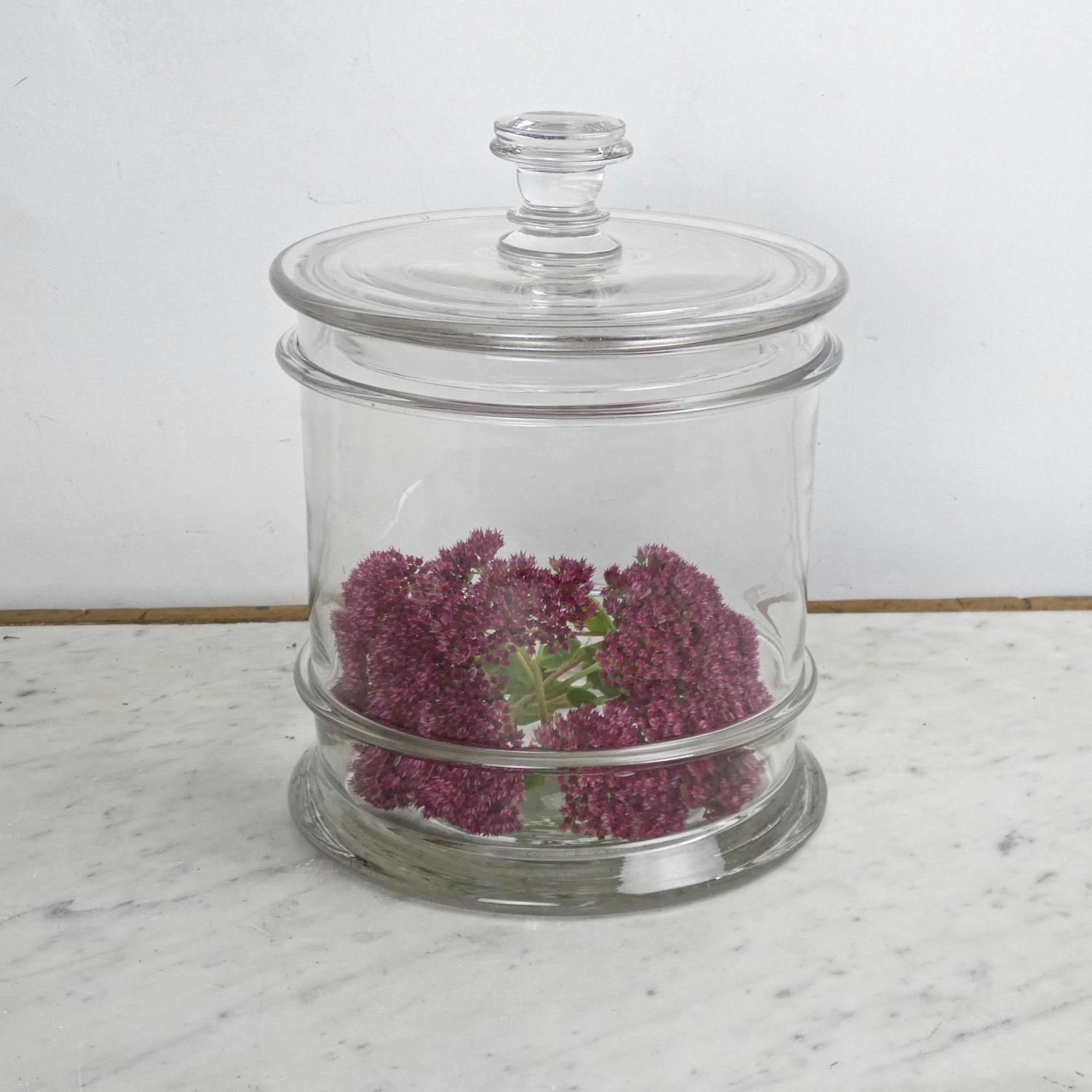 Large, French crystal storage jar