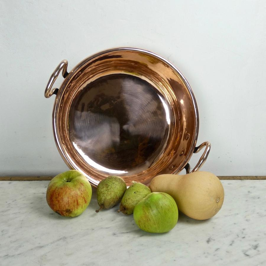 Small, French copper preserve pan