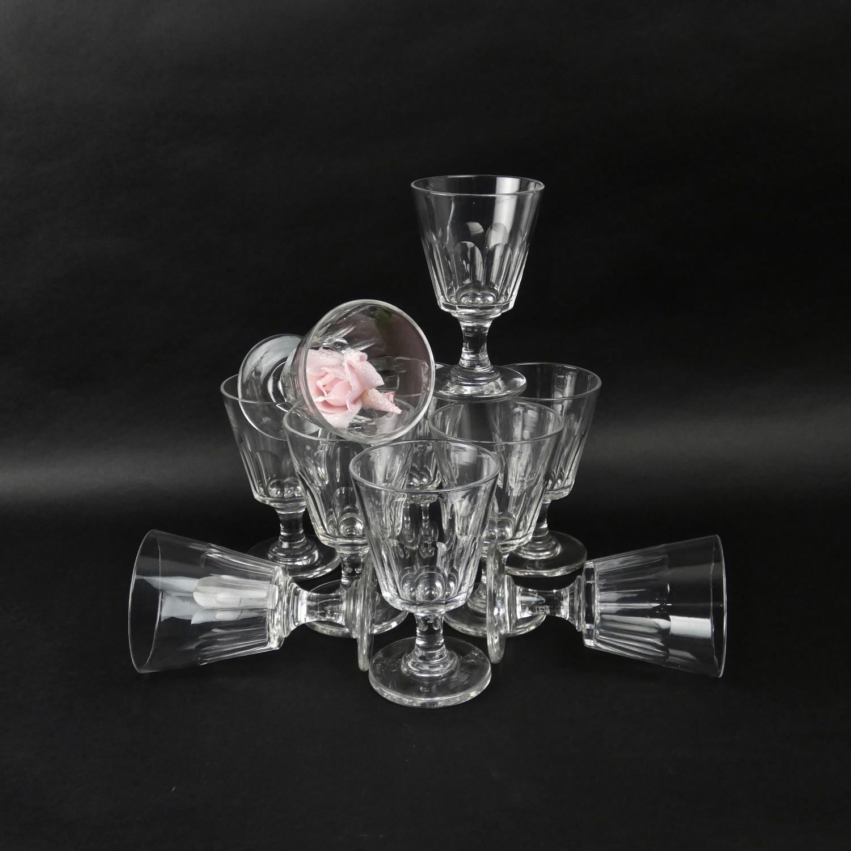 Set of 10 heavy crystal wine glasses