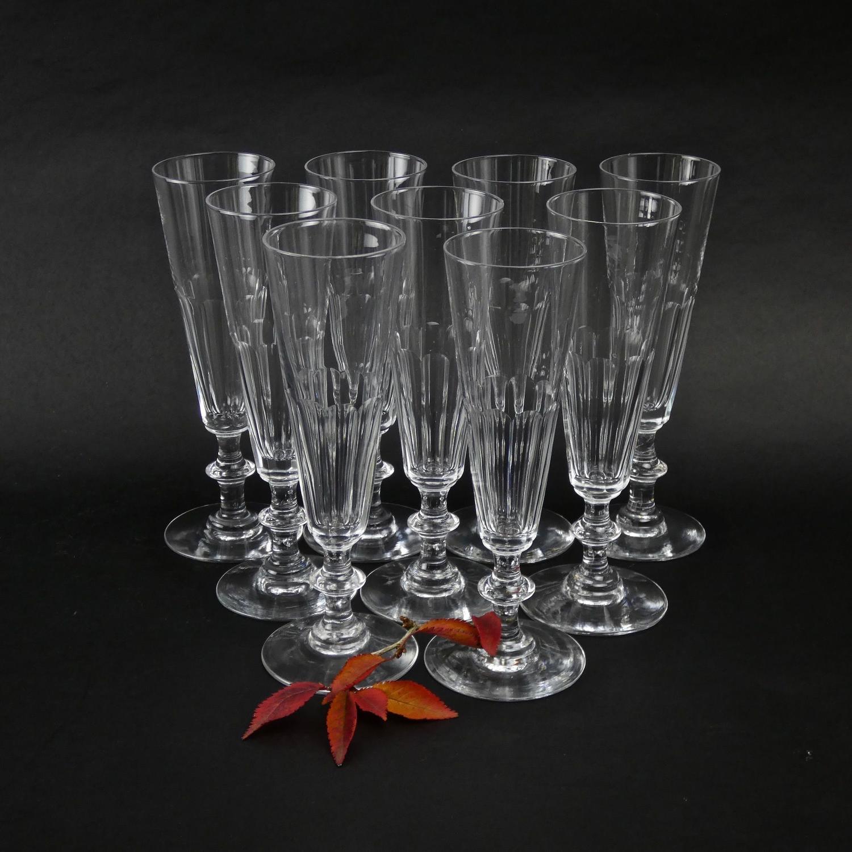 Set of 9 crystal champagne flutes