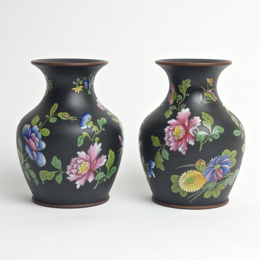 Pair of Capriware on basalt vases
