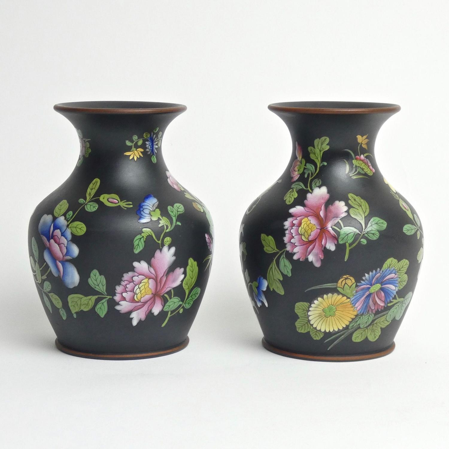 Pair of Capriware on basalt vases