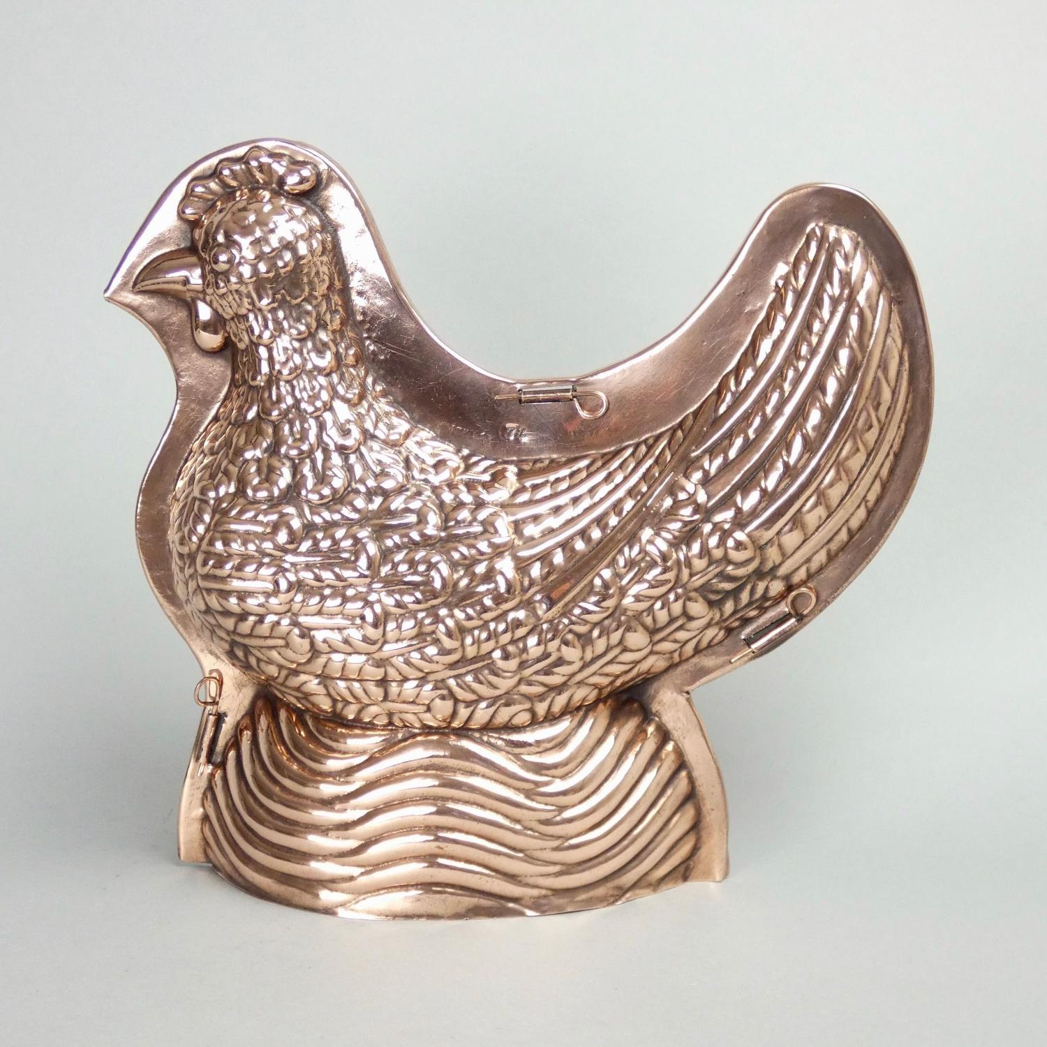 Large, 2 part copper chicken mould
