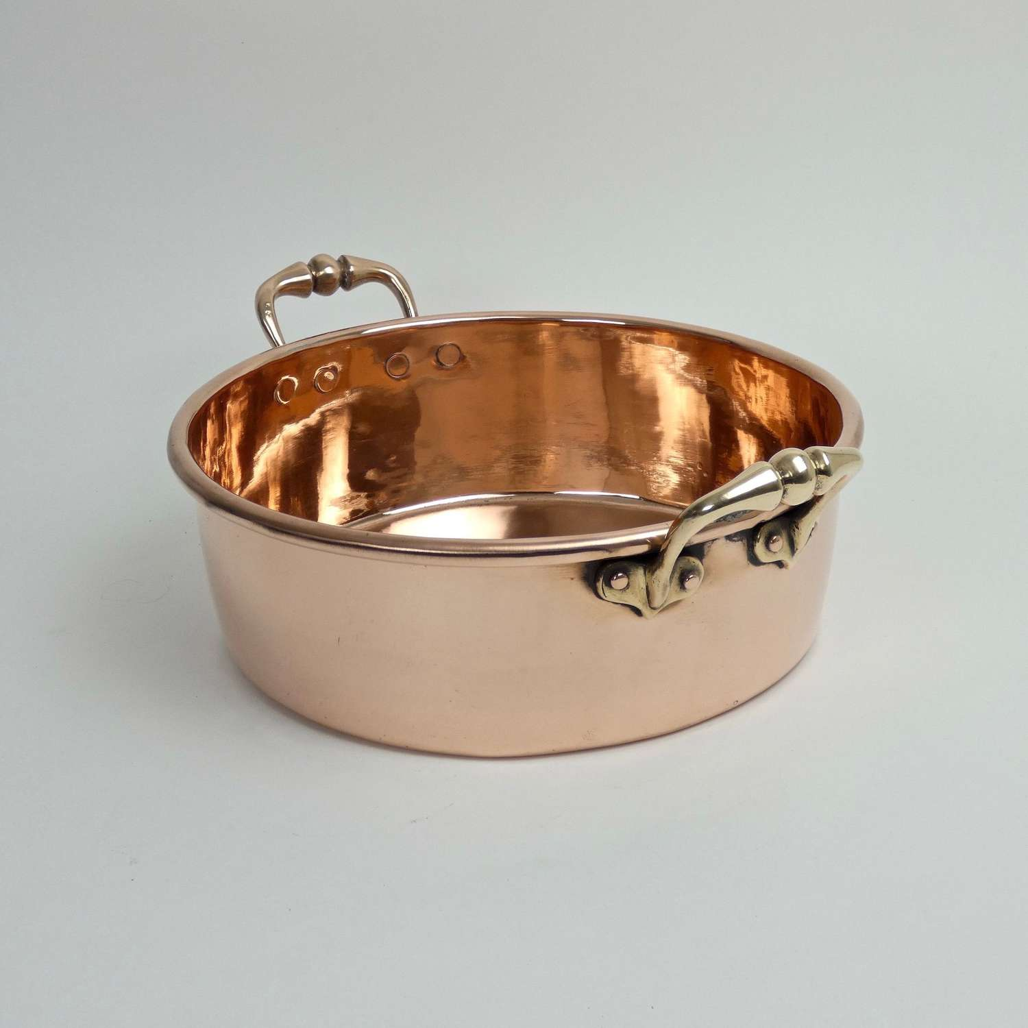 Copper preserve pan with heart shaped fittings