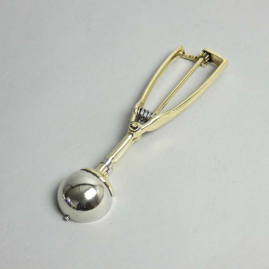 Small, brass, ice cream scoop