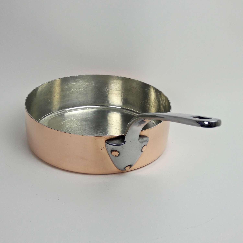 Deep, copper sauté pan