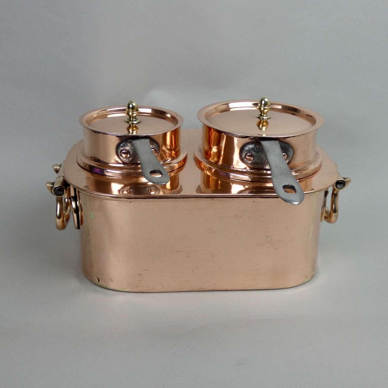 Copper, 2 pan, bain marie set