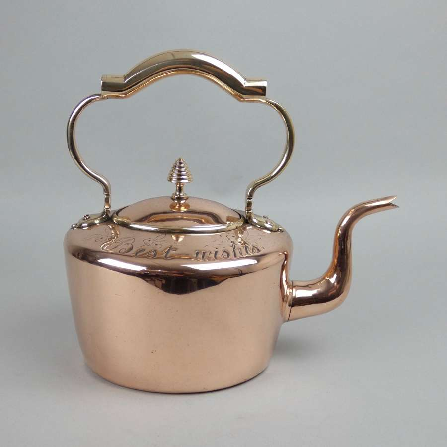 'Best wishes' copper kettle