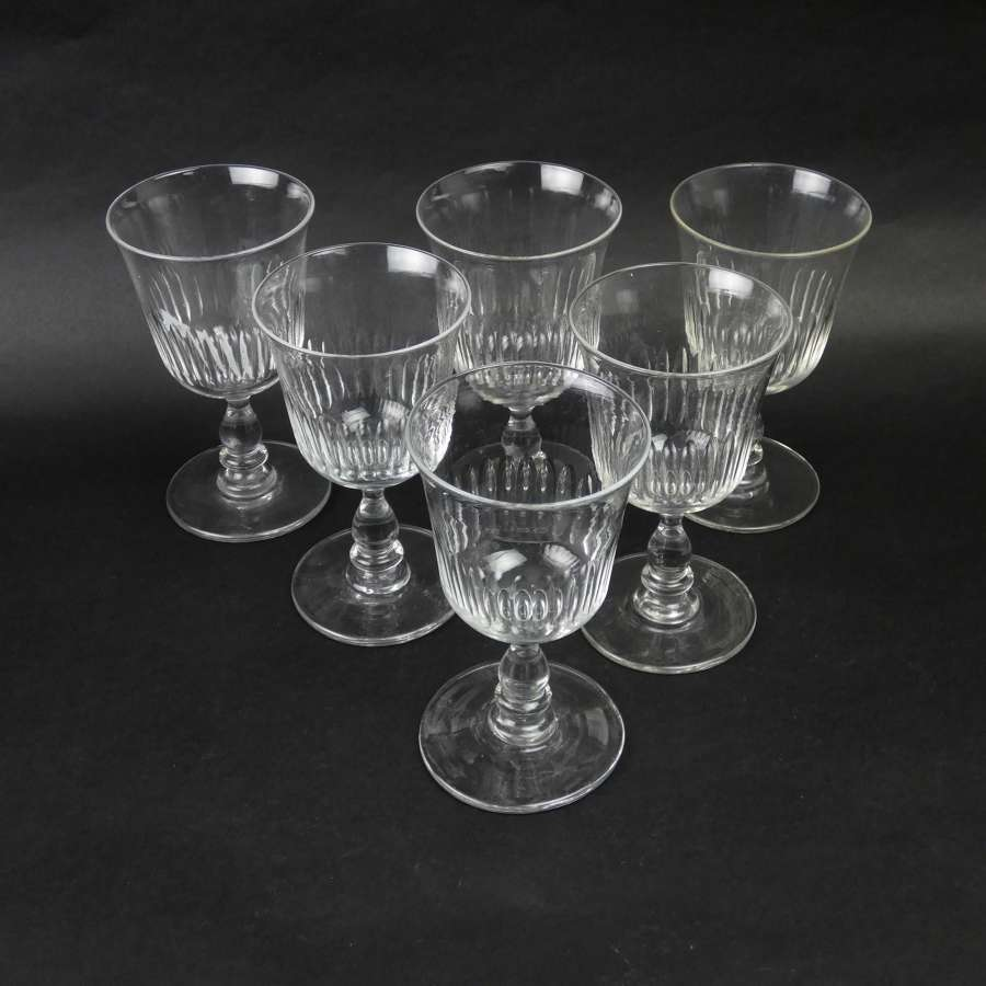 6 crystal wine glasses with baluster stems