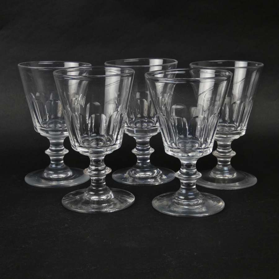 5 heavy, French crystal wine glasses