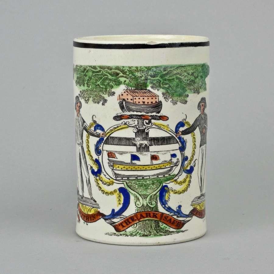 Rare, Shipwrights creamware mug