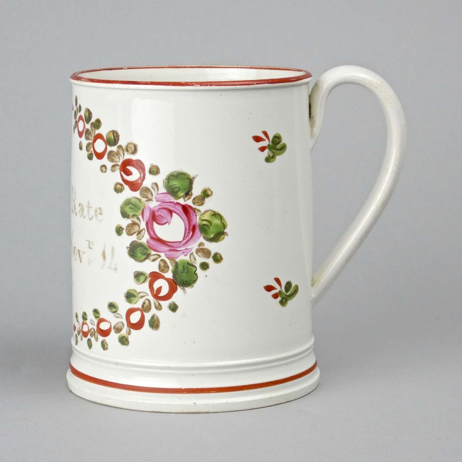 Named & dated, pearlware mug