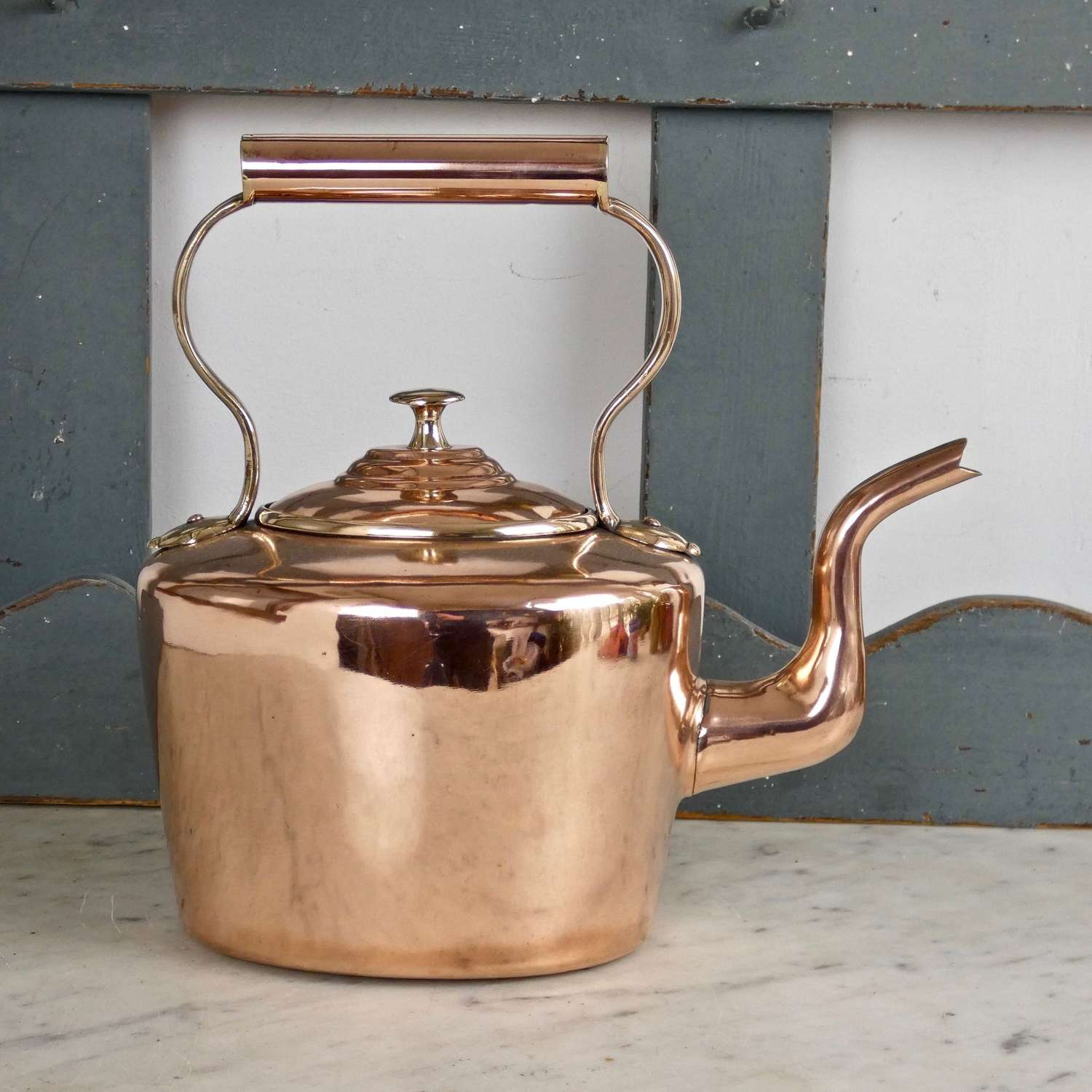 Oval, Victorian copper kettle