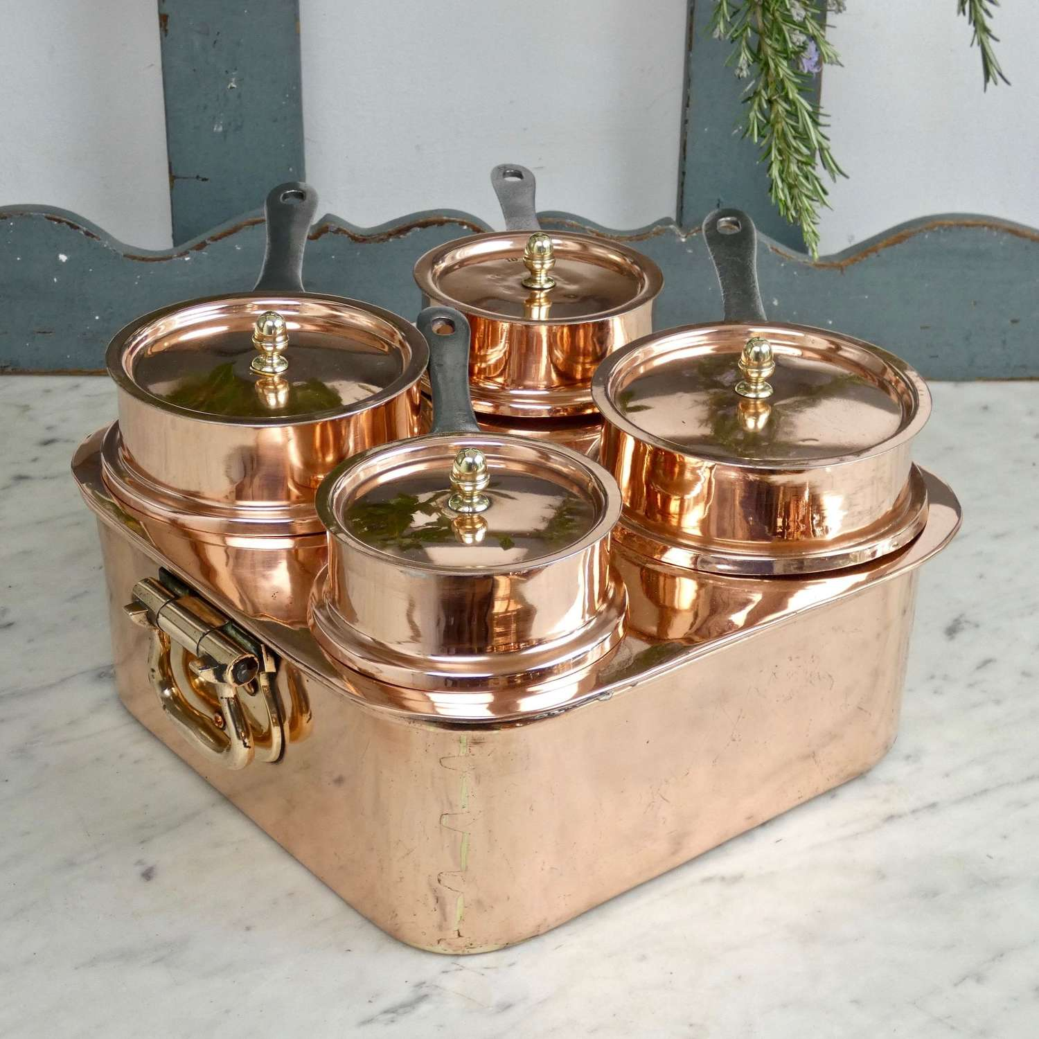 French copper, 4 pan bain marie set