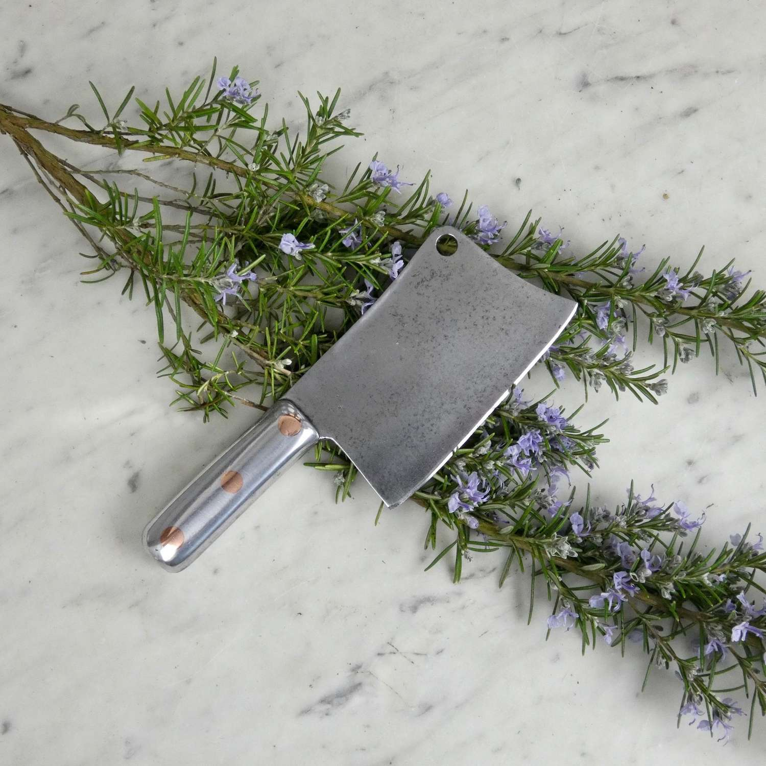 Small, steel meat cleaver