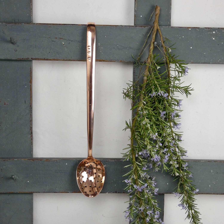 English copper straining spoon