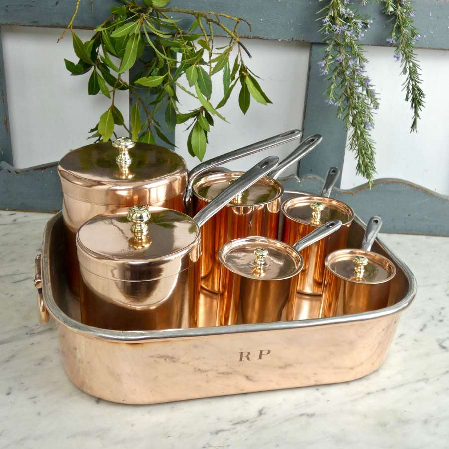English copper bain marie and pans