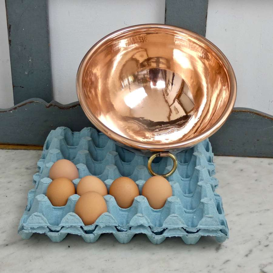 Small, copper egg bowl