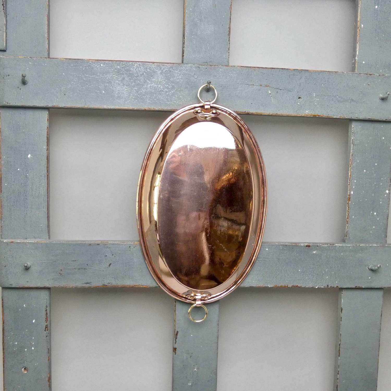 Oval, copper gratin dish